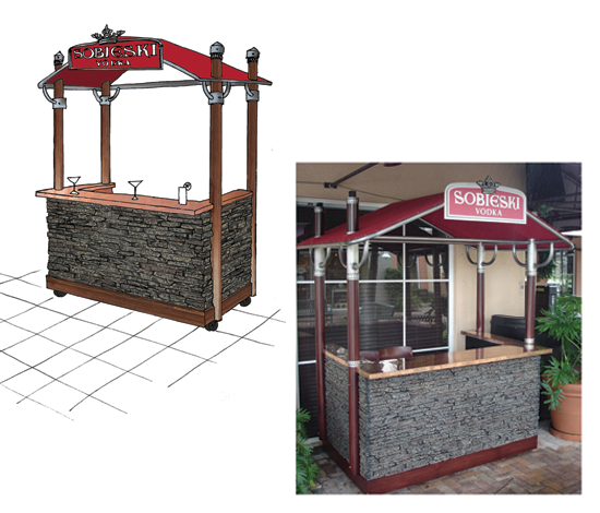 ... Wooden Uprights And The Metal Roof Frame Is Fitted With Taught Red  Canvas. Locking Wheels Let The Unit Be Placed In Just The Right Spot As  Needed.