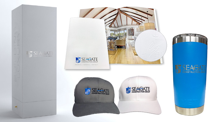 Seagate Construction custom wine liquor box brochure embroidered hat